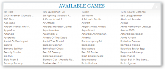Arcade Game List WordPress
