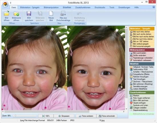Bildbearbeitung FotoXL Rote Augen Entfernen