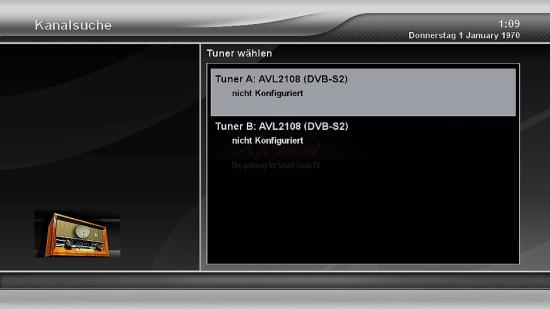 Xtrend ET9500 Tuner wählen