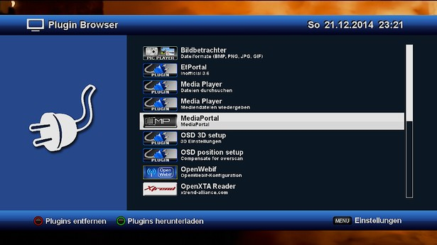 OpenXTA MediaPortal Starten