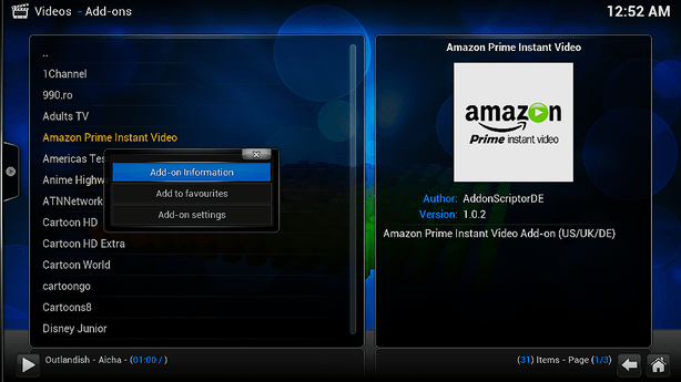 MXV S805 Kodi Amazon Instant Video